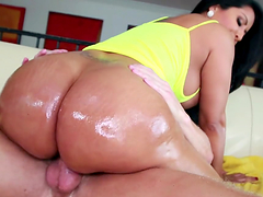 Dirty brunette with big oiled up butt