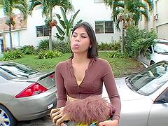 Slutty brunette sucks on a hard dick & gets nailed