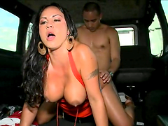 Brunette whore with big round tits gets nailed hard