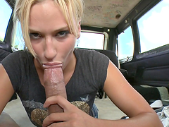Blonde sucks dick and gets fucked
