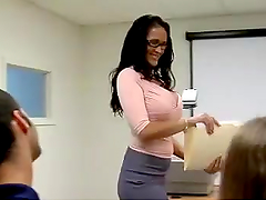 Ms. Bing gets nailed by a very lucky student
