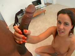 Sexy brunette's penetrated by a black monster cocks