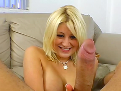 Busty blonde plays with a monster cock in POV