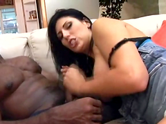 Insatiable brunette gets stuffed by a monster black cock