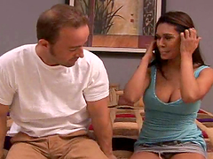 Pretty brunette with big tits gets pounded from behind