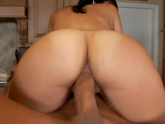 Ripped dude with big dick fucks a hot brunette bitch