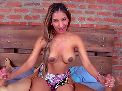Colombian bombshell fucked by two dudes