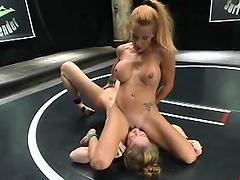 Hot lesbian pleasuring in the middle of the ring