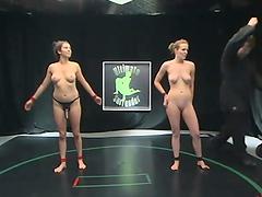 Babes wrestlin' naked on the floor