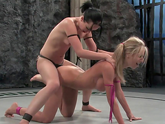 Brunette fucks a blonde on all fours with a strapon