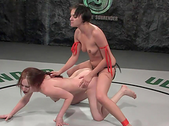Hot scene of wrestling and sex with two babes