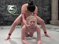 Brunette fucks blonde after wrestling