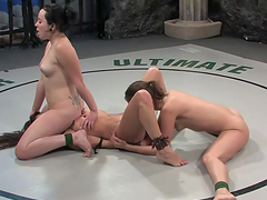 Lesbian wrestling with horny pussy loving hotties