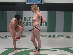 Two naked bitches wrestle naked in hot catfight scene