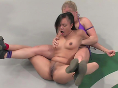 Strapon action with wresting fucking bitches