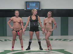 Two sluts wrestle naked and fuck