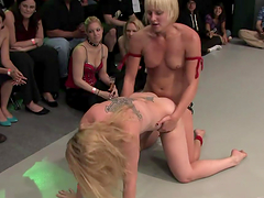Babes wrestle naked & sex each other up