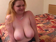 Titty fuck with big titty blonde cock-sucker