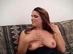 Hot brunette's fucked after masturbating