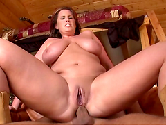 Chunky chick with huge ass tits gets fucking porked