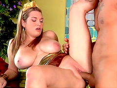 Busty blonde bitch gets her gash fucking fucked