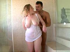 Gorgeous big titty slut gets fucked in the bathroom