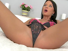 Brunette slut gets her pink gash fucked