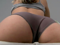 Horny blonde shows off her ass before being fucked