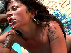 Skank gets her ass fucked by the pool