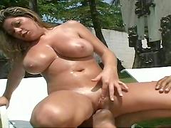 Big titty bitch gets juicy spunk on her knockers !