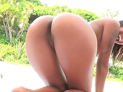Hot sex by the pool with a sexy ebony babe
