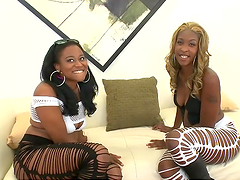 Big booty ebony ladies share a big cock in a threesome