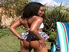 Ebony with pierced pussy gets stuffed hard