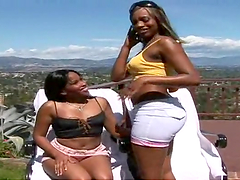 Ebony hotties have a threesome with two thick ebony ladies