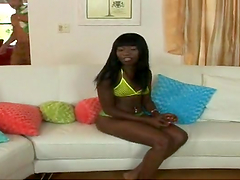 Sexy ebony babe shows off her ass before being fucked