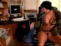 Big titty bitch in fishnet stockings rides a boner!