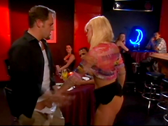 Blonde bitch gets fucked in a club
