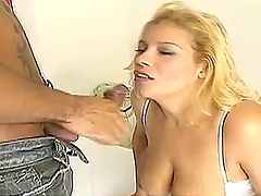 Hot blonde shemale sucks cock and fucks a dude's ass