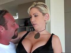 Blonde bitch sucks hard cock & gets slammed