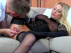 Blonde bitch gets her fucking pussy stuffed!