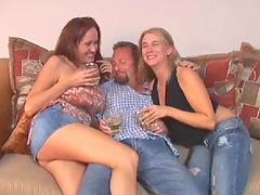 Horny bitches snack on dude's cock