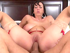 Big titty brunette cunt rides a hard cock