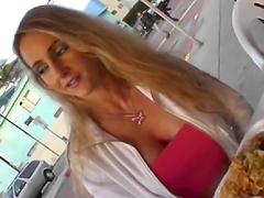 A slutty bitch sucks on a hard dick and gets stuffed
