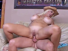 Bitch with big boobies sucks dick & gets nailed