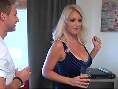 Hot blonde milf with big tits gets fucked in the gash