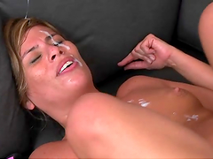 Bitch sucks dick and gets nailed hard