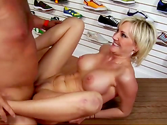 Tight blonde bitch gets her gash stuffed with dick