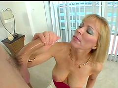 Blonde bitch sucks cock & gets nailed hard!