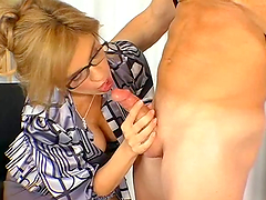 Bitch with glasses gets nailed in the fucking ass
