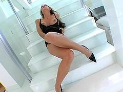 Dirty skank sucks on a big-ass cock & gets nailed
